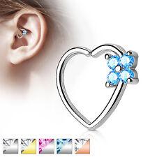 Flower CZ Set Heart Ear Cartilage Tragus Rook Snug Daith Hoop Rings Piercing