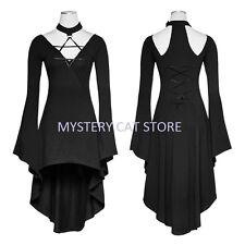 New PUNK RAVE Gothic Rock Top Blouse Dress Black Stretch Cotton PQ-184 FAST POST