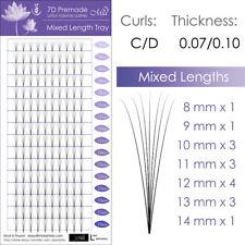 Mixed Length Lotus Premade 7D Fan Lash Eyelash Extension Pre-fans Semi Permanent