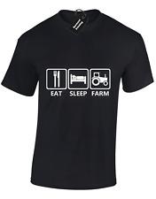 EAT SLEEP FARM MENS T SHIRT FUNNY FARMING FARMER CLOTHING TRACTOR AGRICULTURE