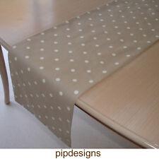 """36"""" Small Table Runner 4ft Mushroom Brown White Polka Dots Taupe Beige 90cm Spot"""
