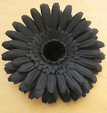 "4 1/2"" Goth  Black Gerbera Daisy Flower Combo Hair Clip & Brooch Pin Halloween"