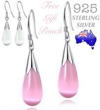 925 Sterling Silver Opal Moonstone Teardrop Water Drop Dangle Pierced Earrings
