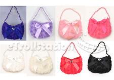 Kids Girl's Evening Wedding Dress up Bag Handbag Purse Rose Ribbon Bow Beads