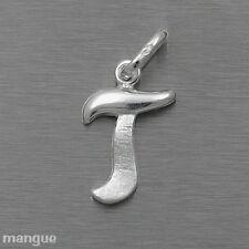 Buchstaben Anhänger - T - Echtschmuck 925 Silber - auf Wunsch mit Kette - NEU