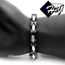 """7.5""""-11""""MEN Stainless Steel HEAVY 8mm Black Silver Interlock Bone Chain Bracelet"""