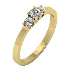 Natural Real Diamond 3 Stone Wedding Ring 14Kt White Gold I1 H 0.60Ct Appraisal