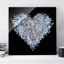 Glasbild Diamant Herz Quadrat 1:1 Wandbild Echtglas farbecht Motiv Design