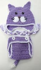 CROCHET BABY CAT HAT DIAPER COVER SET knit infant toddler beanie photo prop
