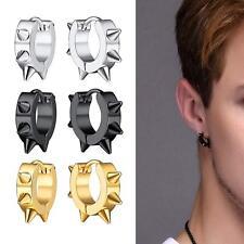 1 Pair Punk Style Spike Hoop Earrings For Men Women Jewelry Stainless Steel US