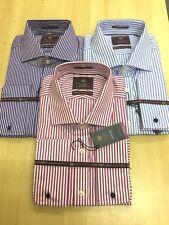 Ex-M&S Puro Cotone Linea Uomo Lusso SUPERIOR 2 PIEGA camicie di cotone polsini alla francese