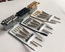 Puente Tremolo Vintage Strat sillas de montar de acero doblada bloque completo:: Cromo, Negro, Oro