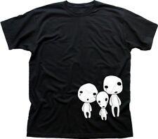 Mononoke Forest People Family Spirit Kodama Miyazaki black t-shirt FN9443