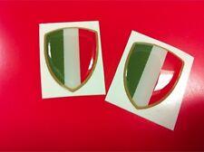 2 Adesivi Resinati Sticker 3D Scudetto Stemma ITALIA Tricolore Bandiera 30 mm
