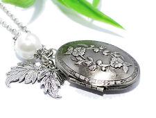 MEDAILLON + Kette Anhänger Halskette Foto aufklappbar silber vintage oval Perle