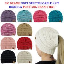 CC Ponytail Beanie Hat Soft Stretch Cable Knit High Bun Ponytail C.C Beanie!