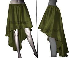 O Green  Satin Asymmetrical Skirt Sexy Girls Skirt Club wear Flamenco Fusion S6