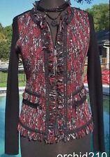 Cache 2 Way Daring Un Zip 2 Navel Top Sweater New XS/S/M Stretch Eyelash $148