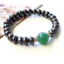 Chic Black Genuine pearls&Green Natural Jade Bracelet AU SELLER b052-4