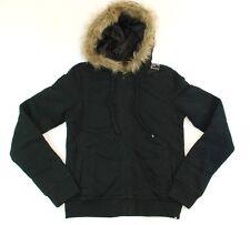 Hurley ICONIC ZIP HOODY Hoodie Black Faux Fur Quilted Lined Junior's Sweatshirt