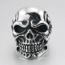 Handmade Huge 316L Stainless Steel Titan Skull Skeleton Mens Biker Rings 3A001B