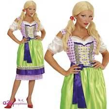Womens Dirndl Bavarian Lady Green Dress Adult Oktoberfest Fancy Dress Costume