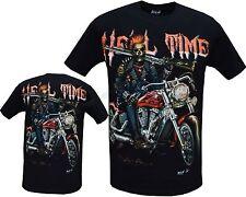GRIM REAPER Hell temps Motard Glow in Dark Tattoo Goth Moto 4D Clou T-Shirt