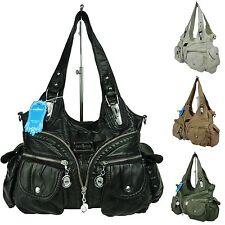 Damen Handtasche, Schultertasche, langer Trageriemen, Fächer, Tasche W7115