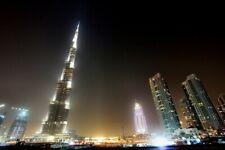 BURJ KHALIFA AT NIGHT GLOSSY POSTER PICTURE PHOTO dubai building arab arabian 17