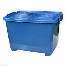 Caisse de rangement en plastique Bleu robuste 18 L, coffre à roulettes (22254)
