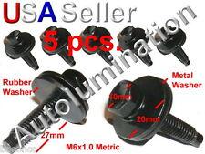 Black Metric Dog Bolt Captive Washer Car Oil Plug Screw M6 x 1 x27mm 10mm Hex