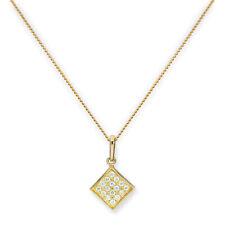 REAL 375 9ct GOLD & Cancella CZ Cristallo Pendente Quadrato Piatto su catena 16 - 20 pollici