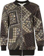 New Womens Multi Pattern Paisley Print Crew Neck Bomber Jacket 14-28