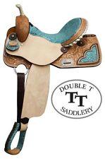 Double T TEAL Filigree Print Seat Copper Studded Full QH Bars BARREL SADDLE