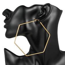 Fashion Gold Huge Hoop Earrings Sale- 1 Pair Big Hexagon Stainless Steel Women