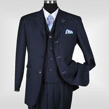 New Men's 3 piece Elegant and Classic Stripes Suit Color Navy Size 38R~60L