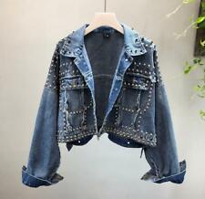 Womens New Korean Fashion Punk Studs Denim Jeans Short Jacket Coat Outwear
