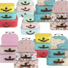 Set of 3 Mini Suitcases Vintage Floral Kids Storage Boxes Retro School Suitcase