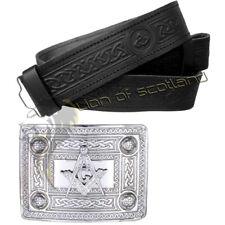 Scottish Kilt Belt Celtic Knot Embossed Black Leather Highland Buckles Masonic