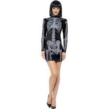 HALLOWEEN SLINKY SKELETON BONES X RAY WET LOOK BLACK MINI DRESS COSTUME S/M