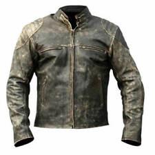 Men's Vintage Black Retro Biker Distressed Hooligan Motorcycle Leather Jacket
