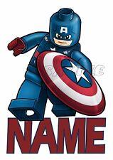 IRON ON TRANSFER OR STICKER - LEGO CAPTAIN AMERICA - LEGO MOVIE CUSTOM NAME