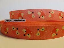 "Grosgrain Ribbon Fox Head on Light Polka Dot Orange Wild Animals Canine 7/8"""