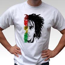 Bob Marley flag - white t shirt top rasta reggae peace music art design