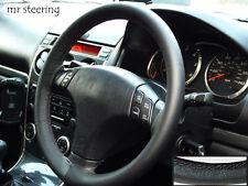 Para Mazda Premacy 99-04 Negro Cuero Italiano volante cubierta Gris Stitch