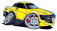 Truimph TR7 TR8 Yellow Cartoon car t-shirt british motor bmc leyland sizes S-3XL