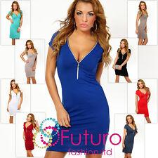 HOT OFFER Elegant Stretch Ladies Dress with Zip V- Neck Dress Size 8-12 8401