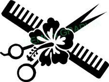 Hair Stylist Scissors, Comb, and Hibiscus Plant vinyl decal/sticker window