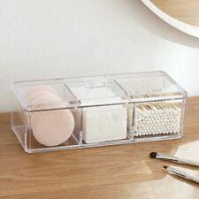 Transparent Clear Acrylic Organizer Holder Cotton Swab Box Makeup Pads Storage