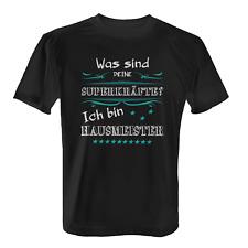 Superkräfte Hausmeister Herren T-Shirt Fun Shirt Spruch Hauswart Beruf Arbeit